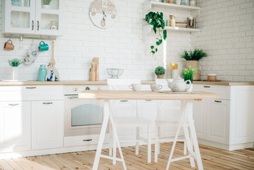 Stylish modern white kitchen. Background for cards.