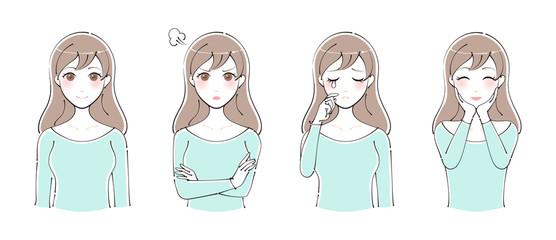 女性のイラスト 表情セット