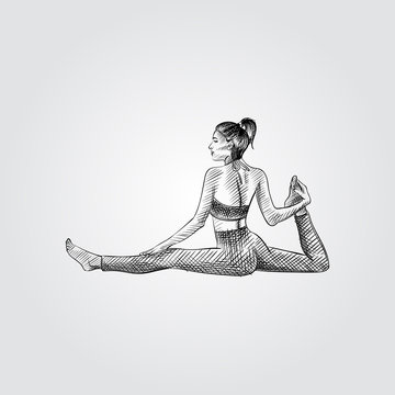 Hand drawn woman practicing yoga, stretching exercise. Vector illustration of yoga pose in sketch style isolated on white background.