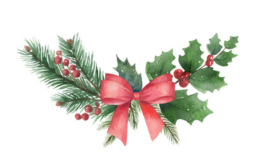 Watercolor vector Christmas wreath with green fir branches and red bow.