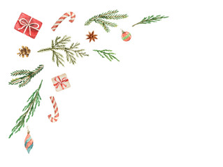 Christmas vector composition with green fir branches isolated on white background.