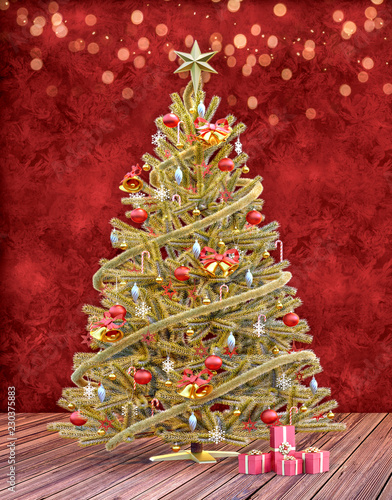 Christmas Tree With Presents Gift Card Template Stock Photo And