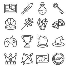 UI icon set. Gaming line elements set.
