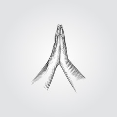 Hand greeting posture of namaste Sketch Symbol isolated on white background. Vector posture of namaste In Trendy Style. Yoga hand drawing sketches elements
