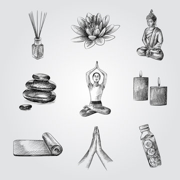 Hand Drawn Yoga elements and accessories Sketches Set. Collection Of posture of namaste, Lotus, statuette of a buddha, Aroma sticks, Yoga Mat, basalt stones, detox sketches on white background