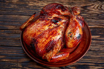 roasted chicken with golden brown crispy skin