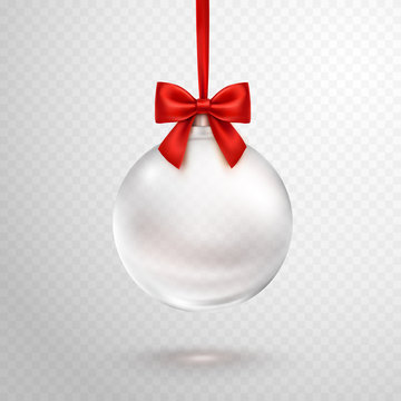 Christmas ball with red ribbon isolated on transparent background. Vector translucent glass xmas bauble template.