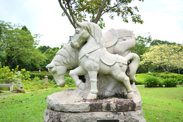 sculpture representing the zodiacal sign of the horse in Chinese calendar