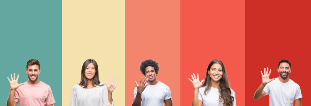 Collage of different ethnics young people over colorful stripes isolated background showing and pointing up with fingers number five while smiling confident and happy.