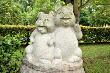 sculpture representing the zodiacal sign of the pig in Chinese calendar