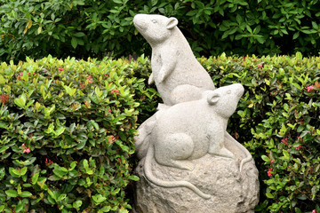 sculpture representing the zodiacal sign of the rat in Chinese calendar
