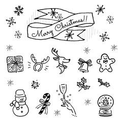 クリスマス 手描き イラスト セット