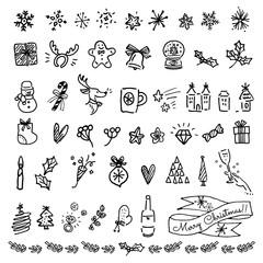 クリスマス 手描き アイコン セット