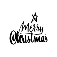 Merry Christmas lettering template. Monochrome greeting card or invitation. Wish you a happy new year . Winter holidays related typographic quote.