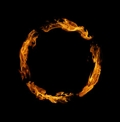 Printed roller blinds Fire / Flame Circle of fire flame on black background