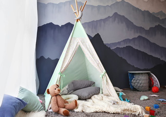 Cozy play tent for kids in child room Wall mural