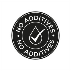 Additives free. Black and white round icon