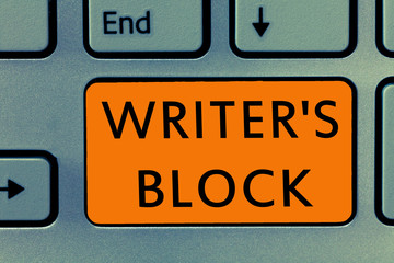 Conceptual hand writing showing Writer s is Block. Business photo text Condition of being unable to think of what to write.