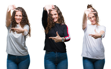 Collage of young brunette curly hair girl over isolated background smiling making frame with hands and fingers with happy face. Creativity and photography concept.