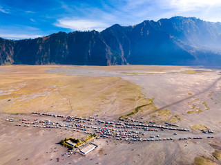 Aerial view of tourist jeeps at parking area, Bromo volcano, Indonesia