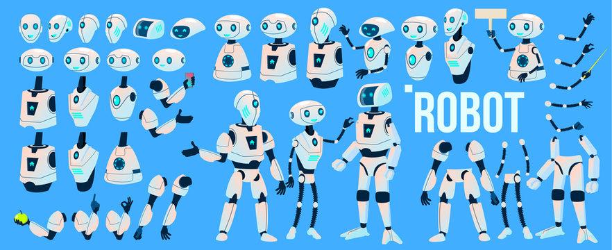 Robot Vector. Animation Set. Mechanism Robot Helper. Cyborgs, AI Futuristic Humanoid Character. Animated Artificial Intelligence. Web Design. Robotic Technology Isolated Illustration