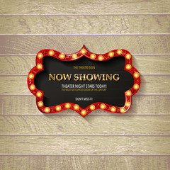 Retro cinema bulb sign shape