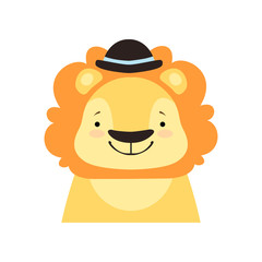 Lion in a black bowler hat, funny face, cute cartoon animal character avatar vector Illustration on a white background