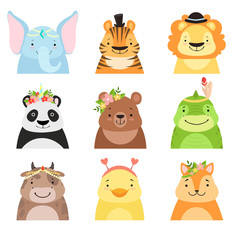 Funny animals wearing different hats set, elephant, tiger, lion, panda, bear, dinosaur, cow, cute cartoon animal avatars vector Illustration on a white background
