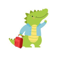 Cheerful tourist crocodile with suitcase, cute animal cartoon character travelling on summer vacation vector Illustration on a white background