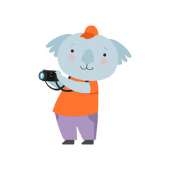 Cheerful tourist koala bear taking pictures with camera, cute animal cartoon character travelling on summer vacation vector Illustration on a white background