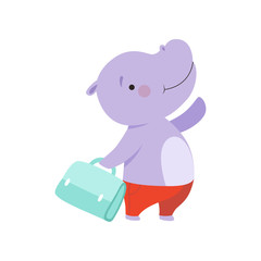 Cheerful tourist hippo with bag, cute animal cartoon character travelling on summer vacation vector Illustration on a white background
