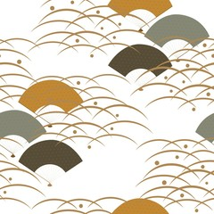 Fan and wave vector in Japanese style. Line pattern background.