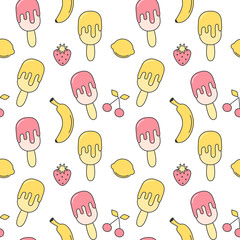 cute summer seamless vector pattern background illustration with ice cream, strawberry, lemon, cherry and banana