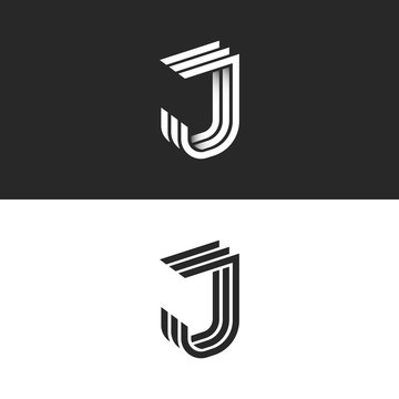 Logo J letter in isometric font initial monogram, black and white 3d geometric parallel lines shape with shadow gradient. Creative modern JJJ perspective emblem typography design element.