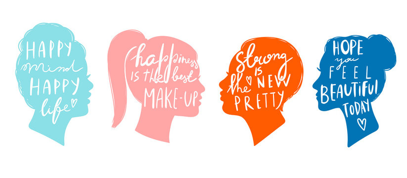 Various quotes on women's head silhouettes. Hand drawn colored vector set. All elements are isolated