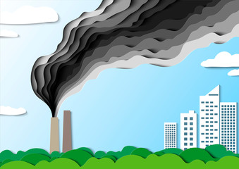 Smoke from the factory goes towards the city. Air pollution poisons. Save your home. Vector. Paper cut illustration.