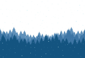 Seamless snowy pine forest. Christmas banner template. Vector illustration.