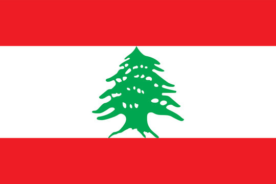 Vector flag of the Lebanese Republic. Proportion 2:3. The national flag of Lebanon.