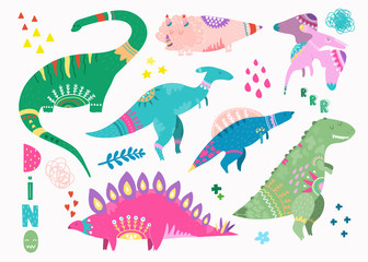 Hand drawn cute dinosaurs. Colored vector set. All elements are isolated