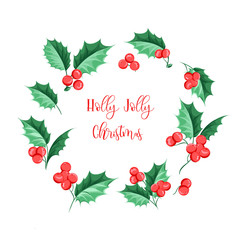 Christmas mistletoe holiday garland. Happy new year 2019. Holly Jolly Christmas. Vector illustration.