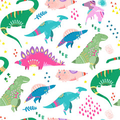 Hand drawn cute dinosaurs. Colored vector seamless pattern