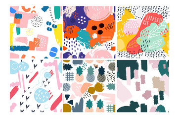 Printed roller blinds Pattern Set of six hand drawn vector seamless patterns. Pineapples, leaves, abstract shapes, various colors. Transparent background