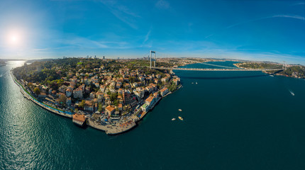 Ultra wide panoramic aerial view of Fatih Sultan Mehmet Bridge and European side of Istanbul