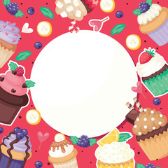 Cupcake poster pattern cute cake food background candy packaging fancy cake banner paper, fruit muffin textile vector illustration