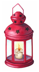 Red hand lantern with candle isolated on white background. Watercolor traditional hand painted illustration. Christmas decor.