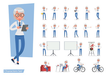 set of Business Woman showing different gestures character vector design. no5