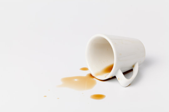 contaminated spilled coffee on the table
