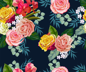 Flowers seamless pattern ,vector illustration
