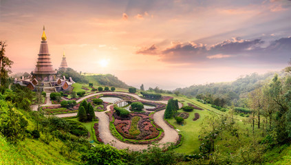 Foto auf Acrylglas Bangkok Landmark pagoda in doi Inthanon national park with mist fog during sunset timeat Chiang mai, Thailand.