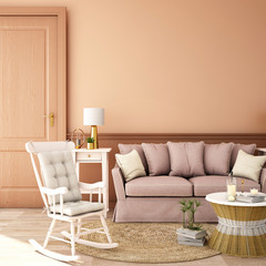 interior design for living area or reception with sofa,plant,sidetable,props on wood floor and pink in Scandinavian style background / 3d illustration,3d rendering